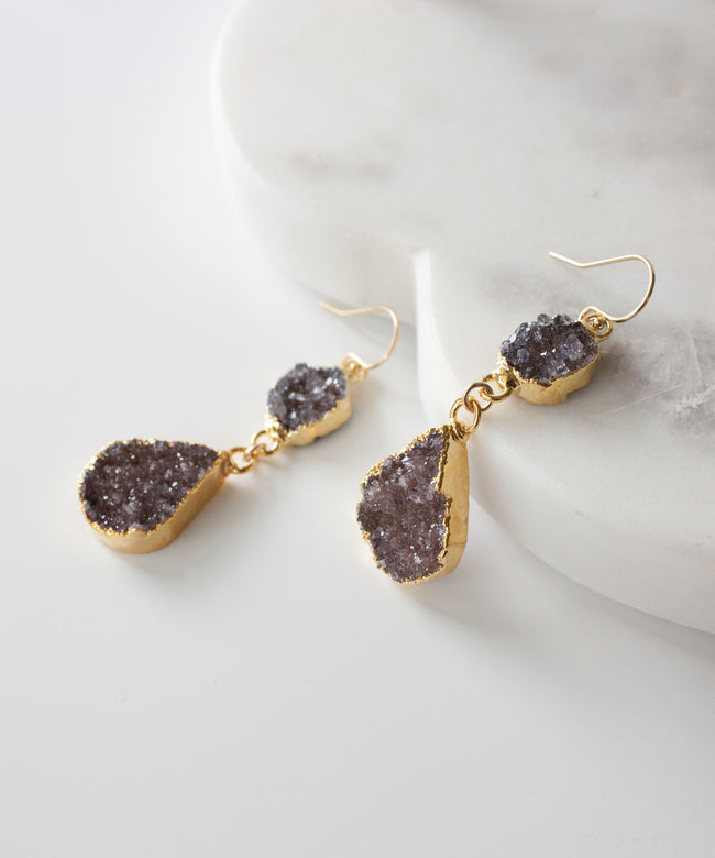 Joss Double Druzy Drop Earrings