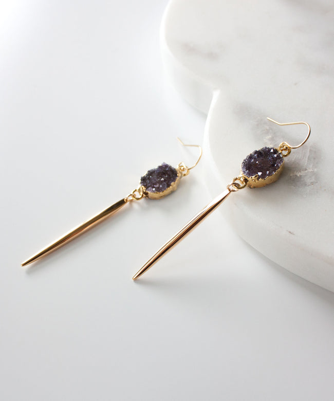 Sloane Druzy Spike Earrings | Amethyst