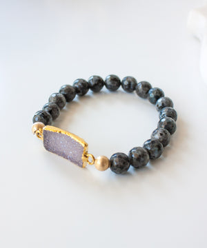Load image into Gallery viewer, Lucca Druzy Accent Bracelet | Labradorite