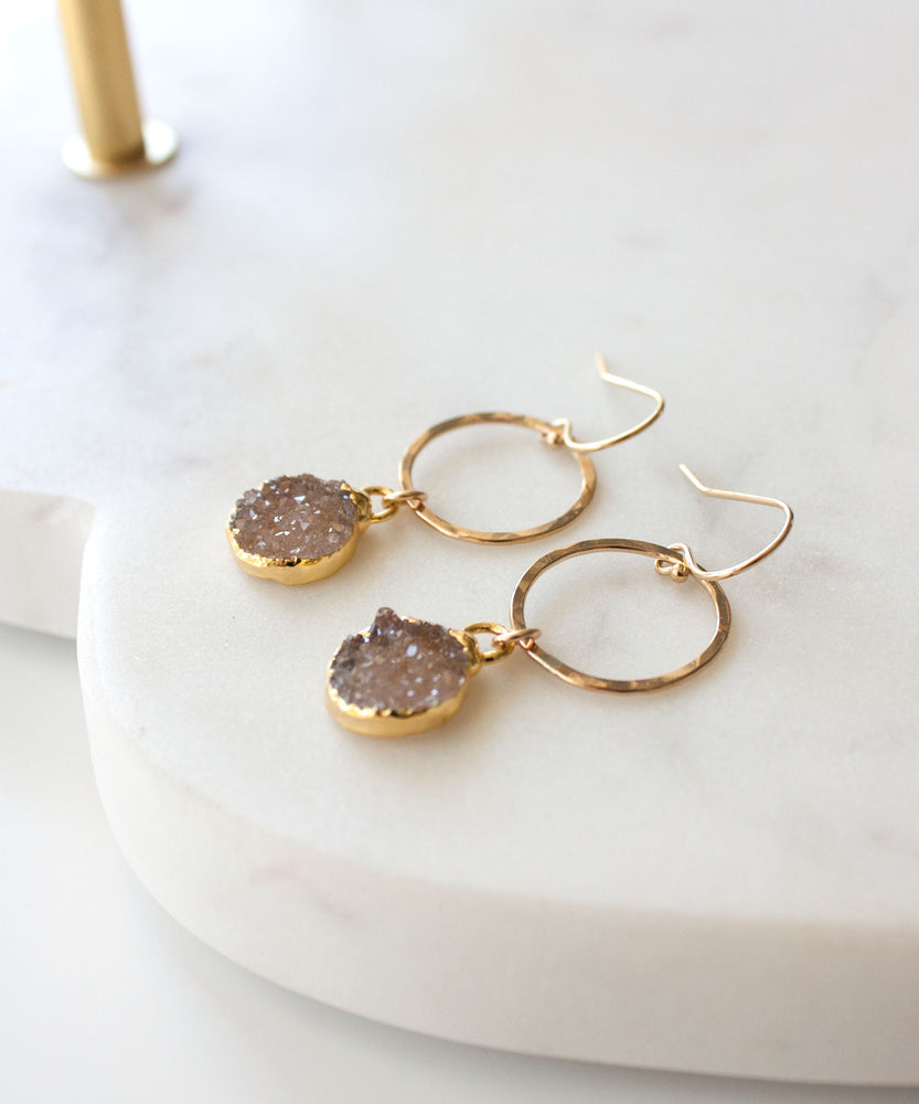 Rey Druzy Circle Drop Earrings