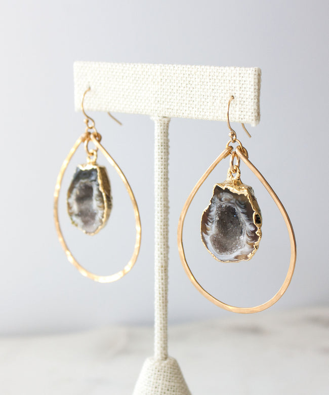 Jane Geode Teardrop Earrings | Small