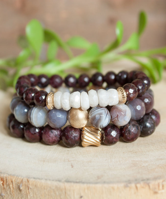 Gold Twist Stack Bracelet | Garnet