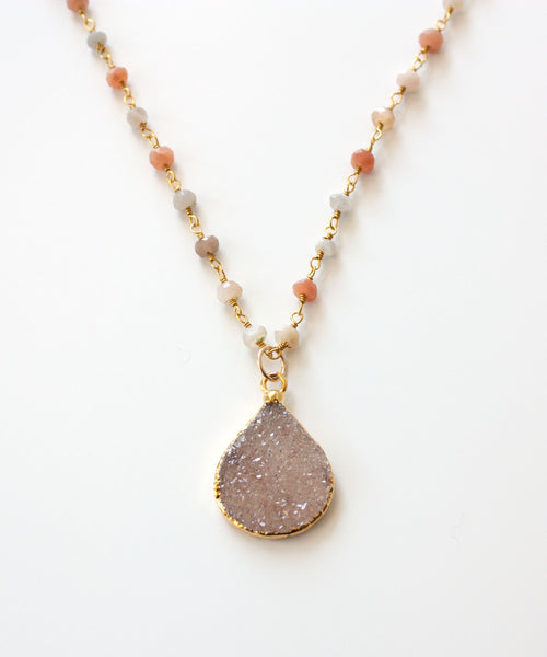 Harper Druzy Rosary Necklace | Buff