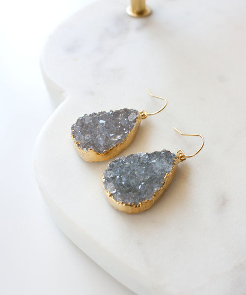 Joss Luxe Druzy Teardrop Earrings | Silver