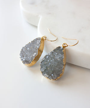 Joss Luxe Druzy Drop Earrings | Silver