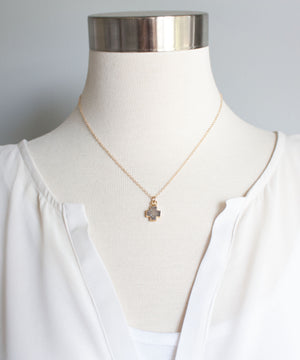 Load image into Gallery viewer, Celeste Druzy Cross Necklace