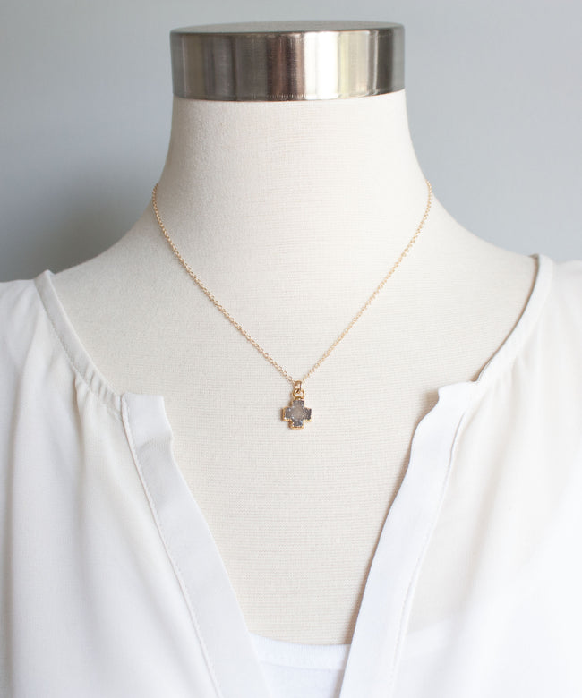 Celeste Druzy Cross Necklace