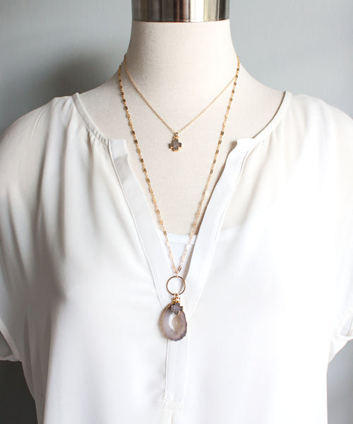 Jane Geode Charm Necklace