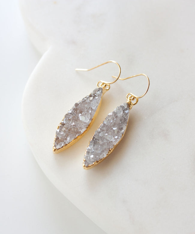 Zara Marquis Druzy Earrings | Mist