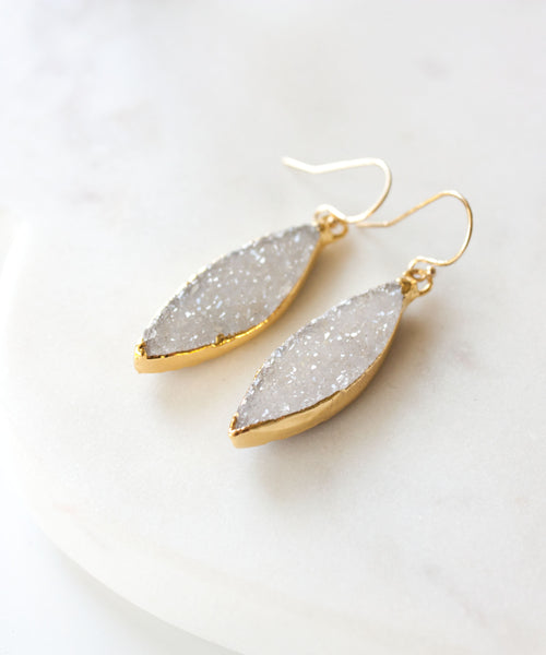 Zara Marquis Druzy Earrings | White
