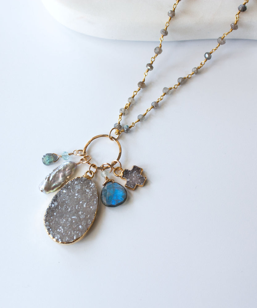 Load image into Gallery viewer, Lani Druzy Charm Necklace