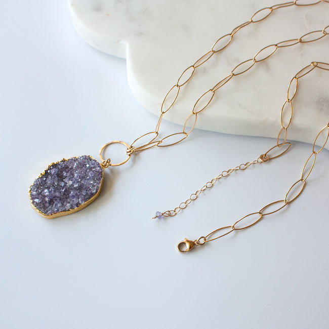 Joss Long Druzy Pendant Necklace