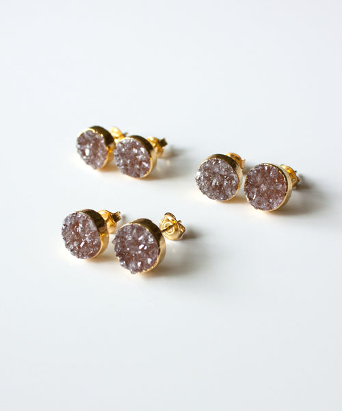 Rey Druzy Stud Earrings | Champagne
