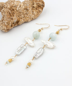 Lani Tiered Biwa Pearl Earrings