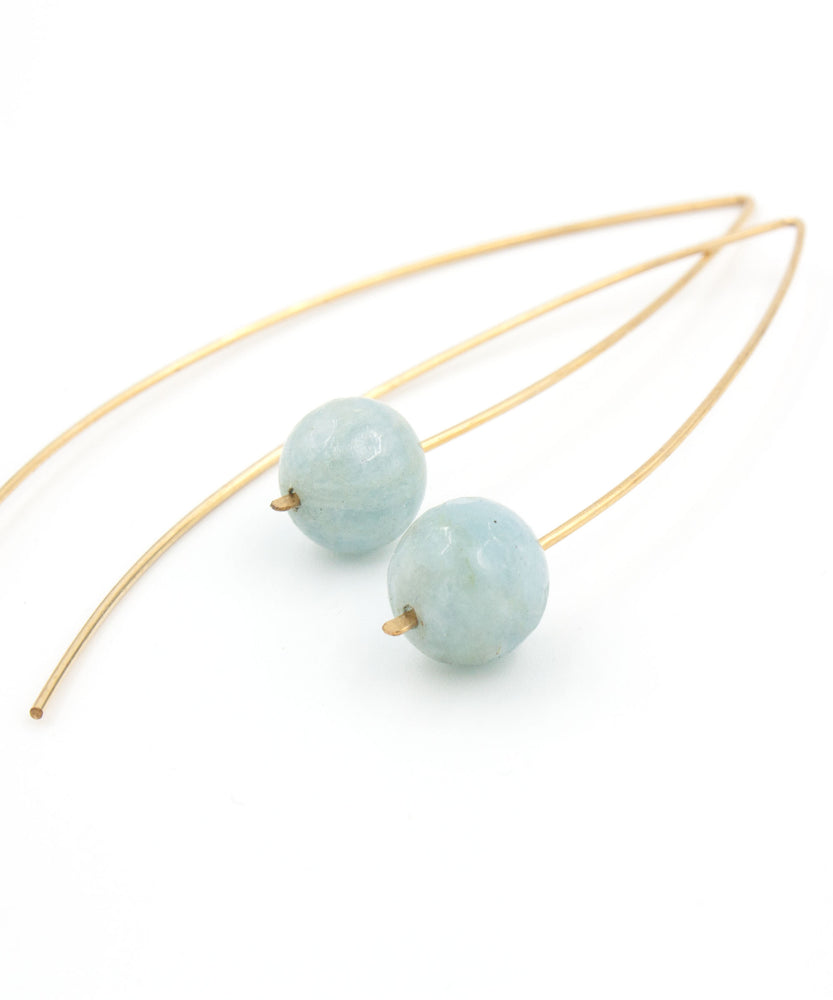 Load image into Gallery viewer, Lola Arc Threader Earrings | Aquamarine