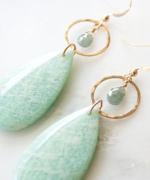 Load image into Gallery viewer, Seycha Statement Earrings | Amazonite