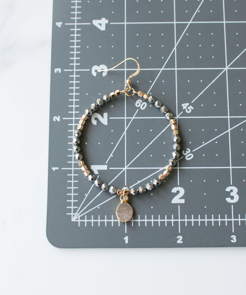 Load image into Gallery viewer, Leia Banded Druzy Drop Hoops