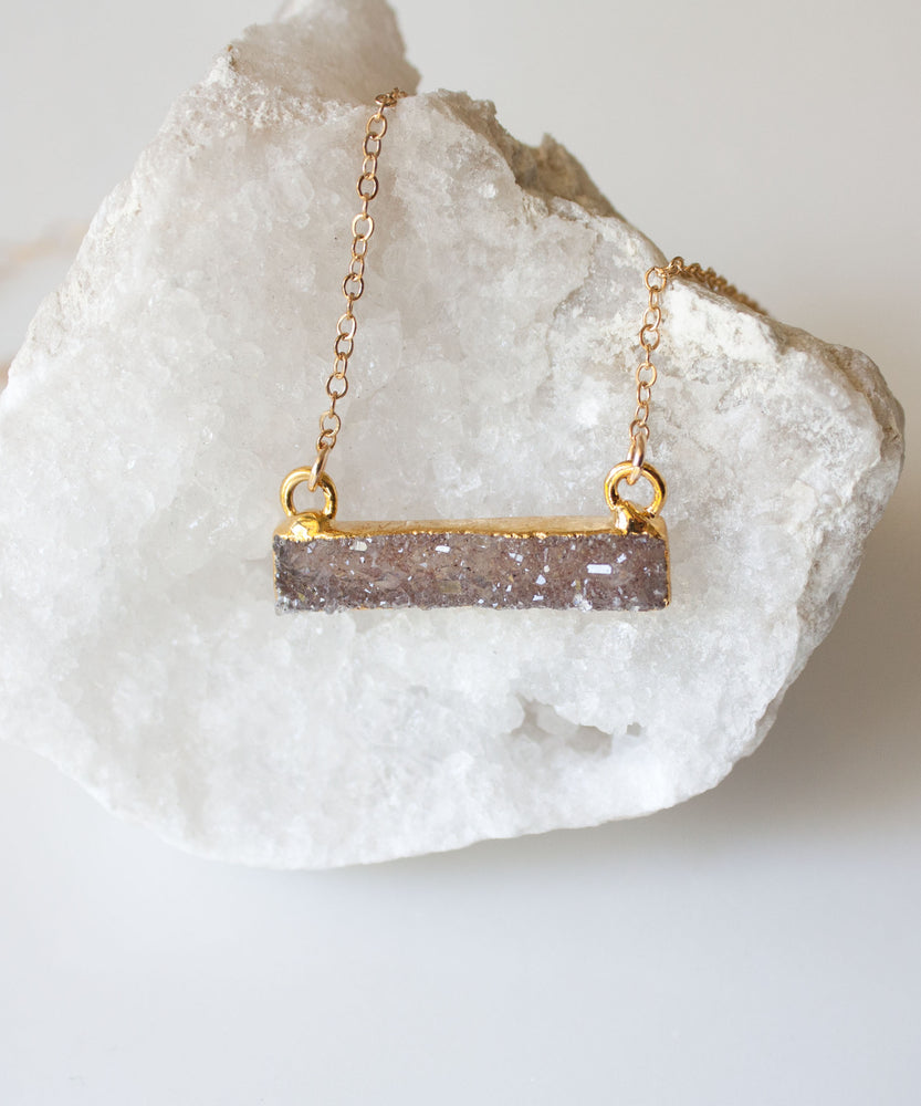 Load image into Gallery viewer, Harper Druzy Bar Necklace