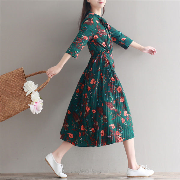 641eee930e6 Chiffon Dress Women Casual Vintage Green Flower Print Sleeve Retro Dre –  Online Hero