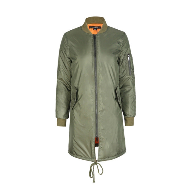 Winter Long Coats Spring Female Casual Military Bomber Jackets