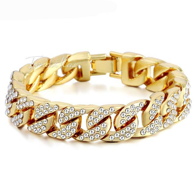 79f7f817bc3 Hip Hop Iced Out Bling Full Paved Rhinestones CZ Men s Bracelet ...