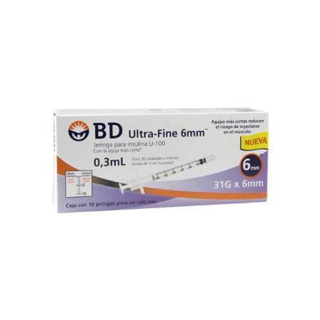 BD Ultra-Fine Jeringas de Insulina de 0.3 ML y aguja Integrada de 31 Gauge X 6 MM