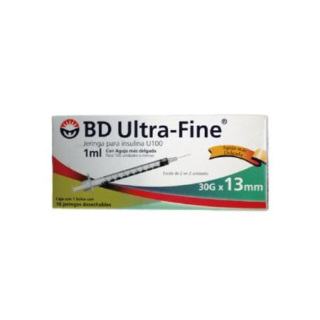 BD Ultra-Fine Jeringas de Insulina de 1 ML y Aguja Integrada de 30 Gauge X 13 MM
