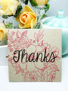 Thank you red floral kraft greeting card