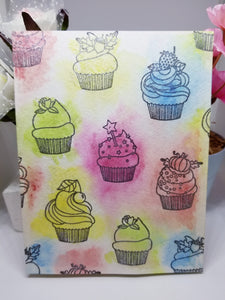 Watercolor colorful cupcake birthday card