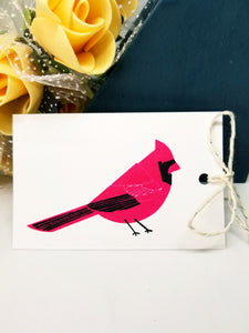 Pink winter bird gift tag