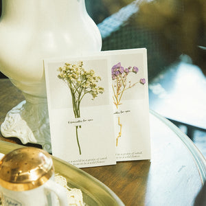 Blank Stationery Greeting Card with Dried Flowers
