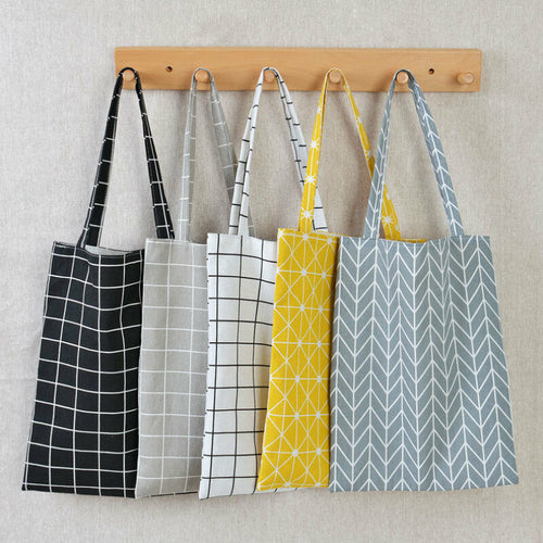 Linen Tote Bag in Modern Patterns