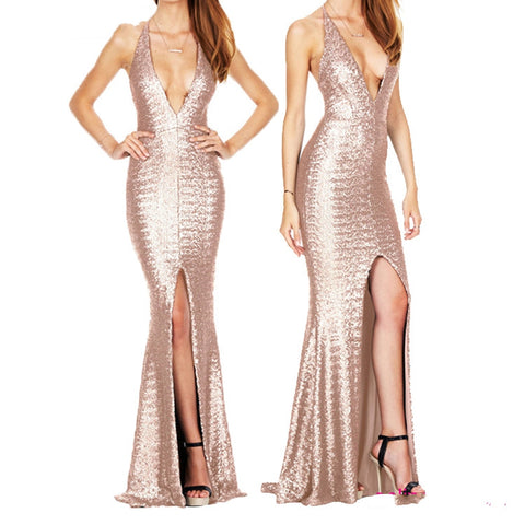 Backless Deep V Neck Sequins Ladies Dress
