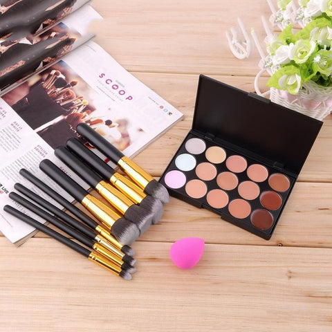 15 Color Concealer Palette + 8pcs Make Up Brushes Kit + 1Sponge Puff