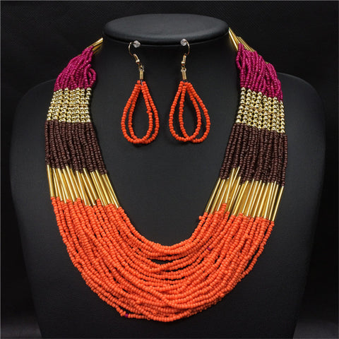 Jewelry Sets Necklace Earrings African Beads