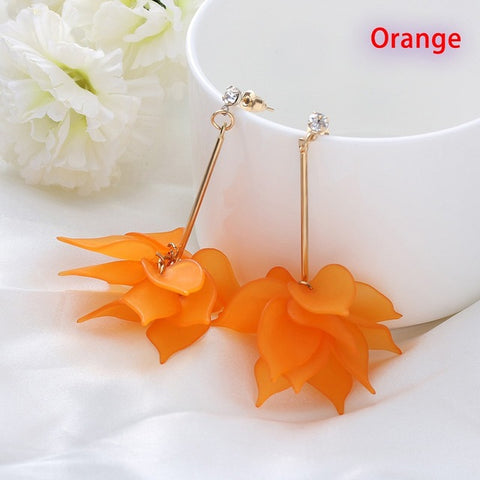Lady Crystal Flower Colorful Drop Earrings