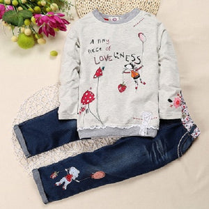 2018 New Arrival  2pcs Children Sets Long Sleeve Tops+ Jeans Children Sets