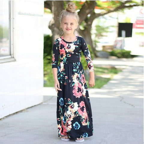 New Girls Dress Floral Princess Long Sleeve