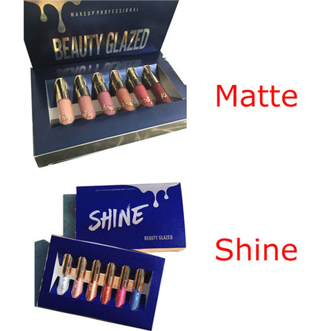 6 Pcs Beauty  Shine Metallic Liquid Lip Gloss