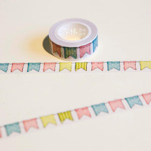 """Bunting Flags"" Sketched Washi Tape - 1.5 cm - Flag Design"