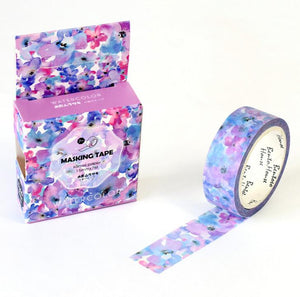 """Flower Patch Kid"" Violet Floral Watercolor Washi Tape - 1.5 cm"