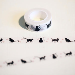 """Everybody Wants to be a Cat"" Black Cat on Translucent White Washi Tape - 1.5 cm"