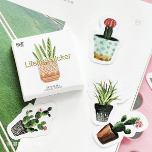 """Succulents + Cactus"" Plant Stickers - Set of 45 Self-Adhesive Paper Stickers"