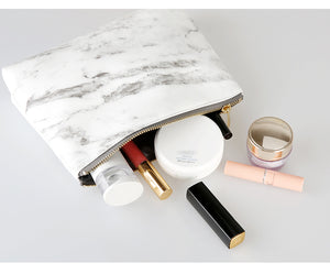Never Marble Edition Vegan Leather Bag - Pencil and Cosmetics Holder