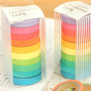 """Colors of the Mini Rainbow"" Set of Thin Washi Tape - Colorful 10 Piece Set"