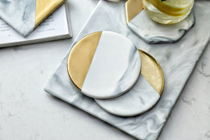 Ceramic Marble - Gold Dipped Drink Coasters - 3 Choices Available