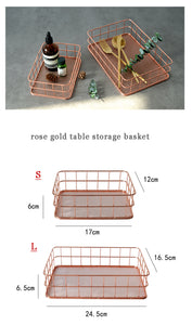 Rose Gold Shallow Desk Trays - Large and Small