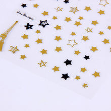 """Oh My Stars"" Sticker Sheet - Self-Adhesive Gold + Black Stars"