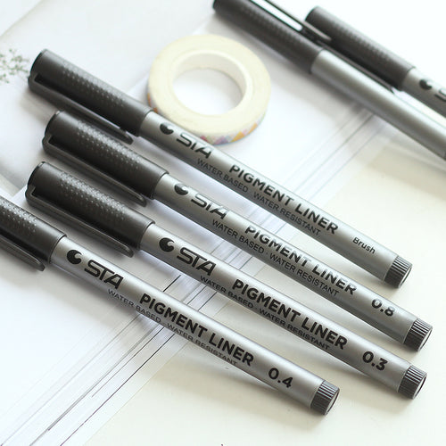 6 Piece Set - Pigment Liner Black Line Drawing + Writing Pens - 0.05-0.8mm