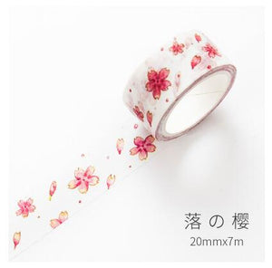 Pinky Red Floral Washi Tape - 2 sizes